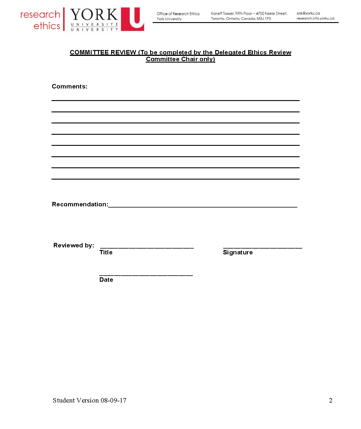 full-size image of the request for approval of an amendment to an approved protocol from research ethics page 2