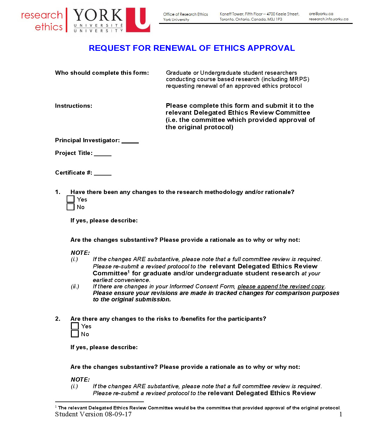 full-size image of the request for renewal of ethic approval form from research ethics page 1