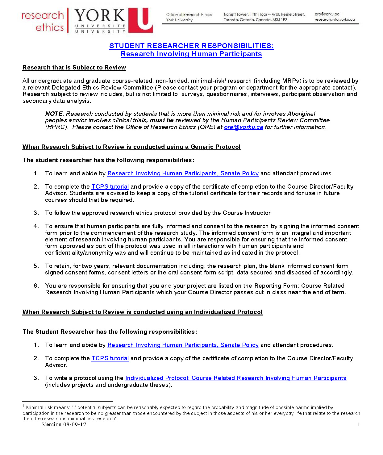 full-size image of student research responsibilities from research ethics page 1